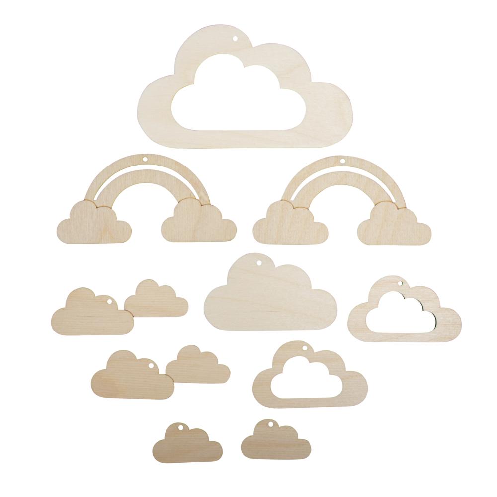 H-Anhänger f.Mobile kl. Wolke,FSCMixCred, 10-tlg. 4,5-14cm, SB-Btl 1Set, natur