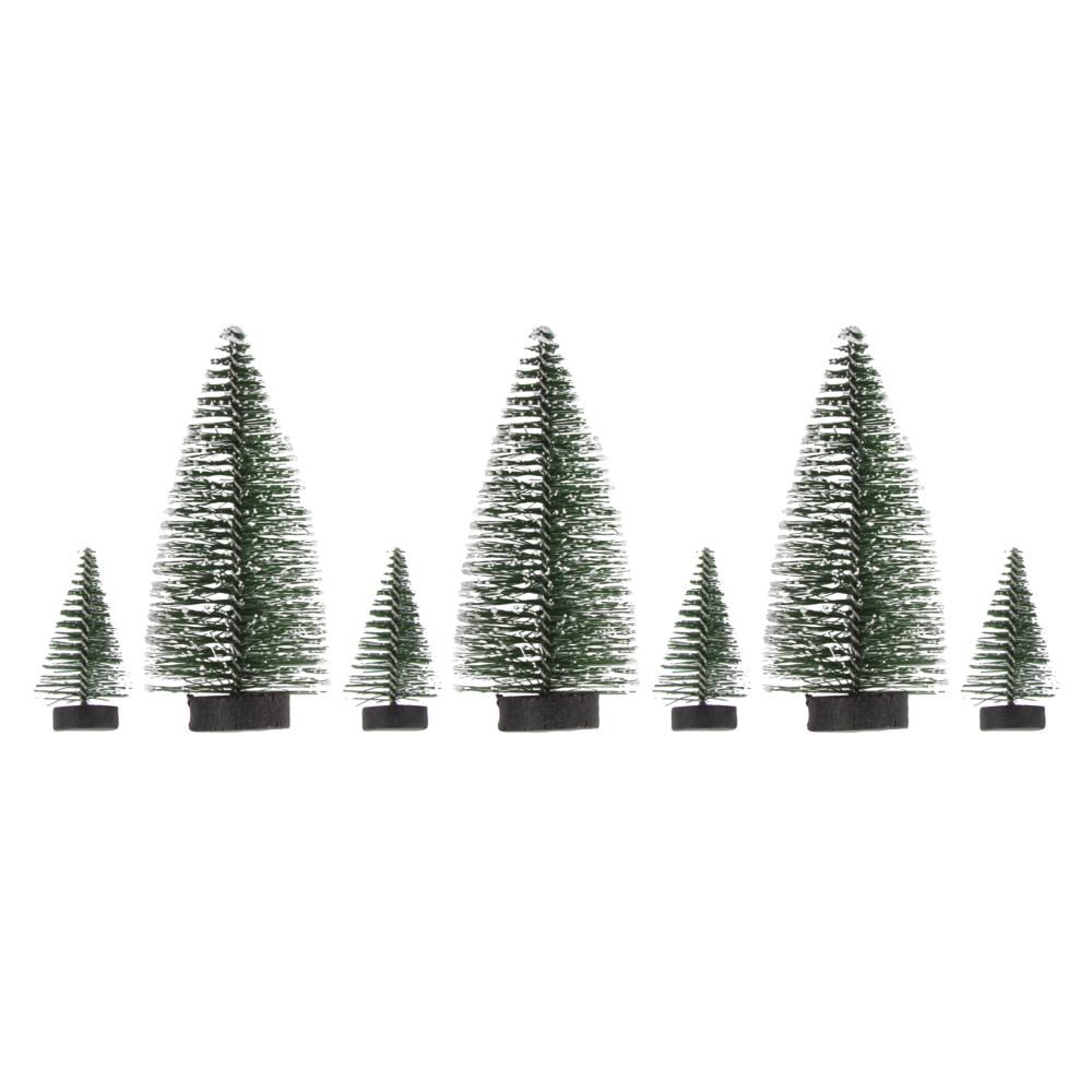 Deko-Tannenbäume beschneit, 5cm x 4 St./10cm x 3 St., Box 7Stück, tannengrün