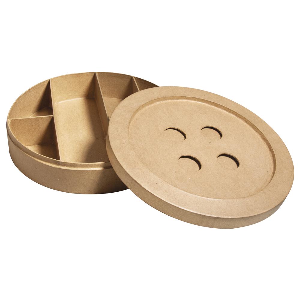 Pappm. Passep.-Box Knopf, FSC Rec. 100%, 24,5x24,5x6cm, m. Unterteilungen