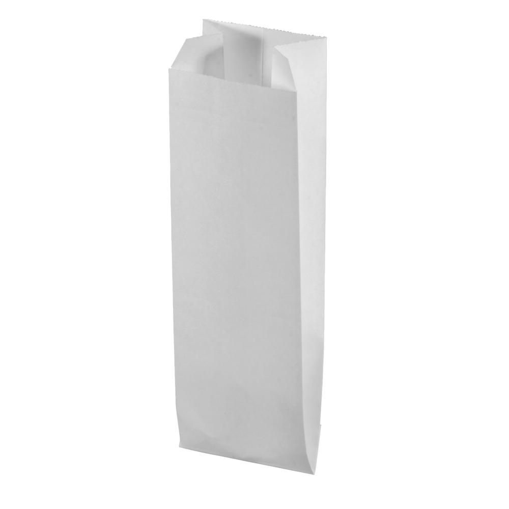 Papier-Faltenbeutel, 7x24cm, SB-Btl 20Stück, weiß