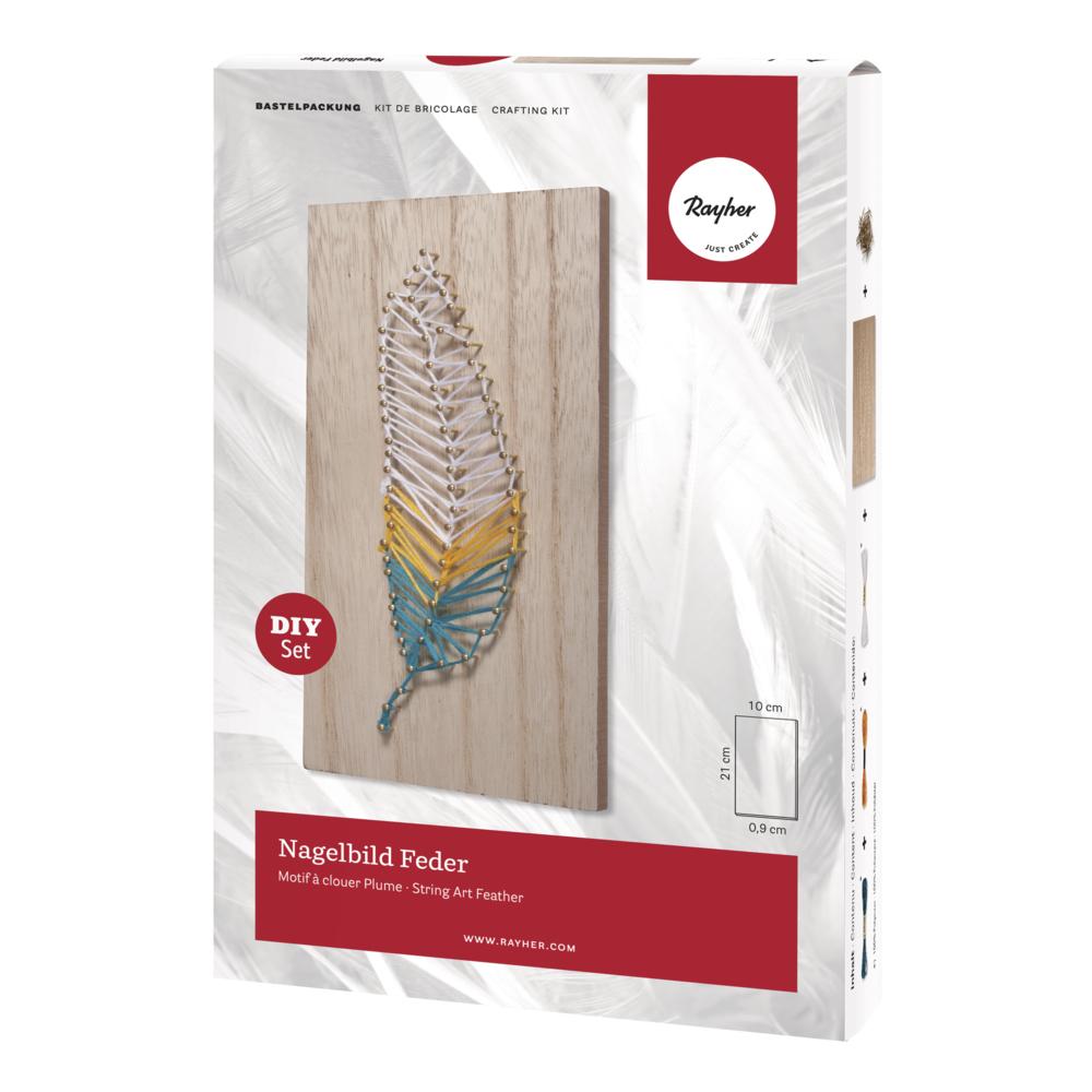 Bastelpackung: Nagelbild Feder, 10x21x0,9cm, Box 1Stück