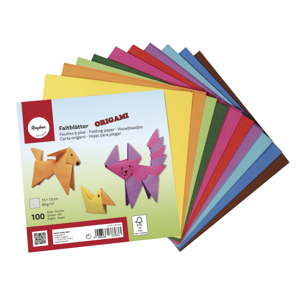 Origami-Faltblätter, FSC Mix Credit, 15x15cm, 80g/m2, Beutel 100Blatt