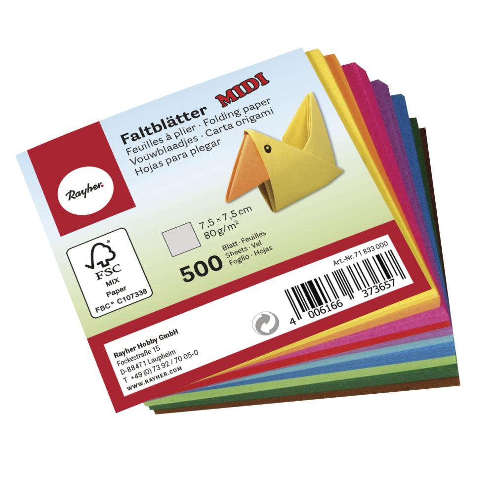 Faltblätter-Midi, FSC Mix Credit, 7,5x7,5cm, 80g/m2, Beutel 500Blatt