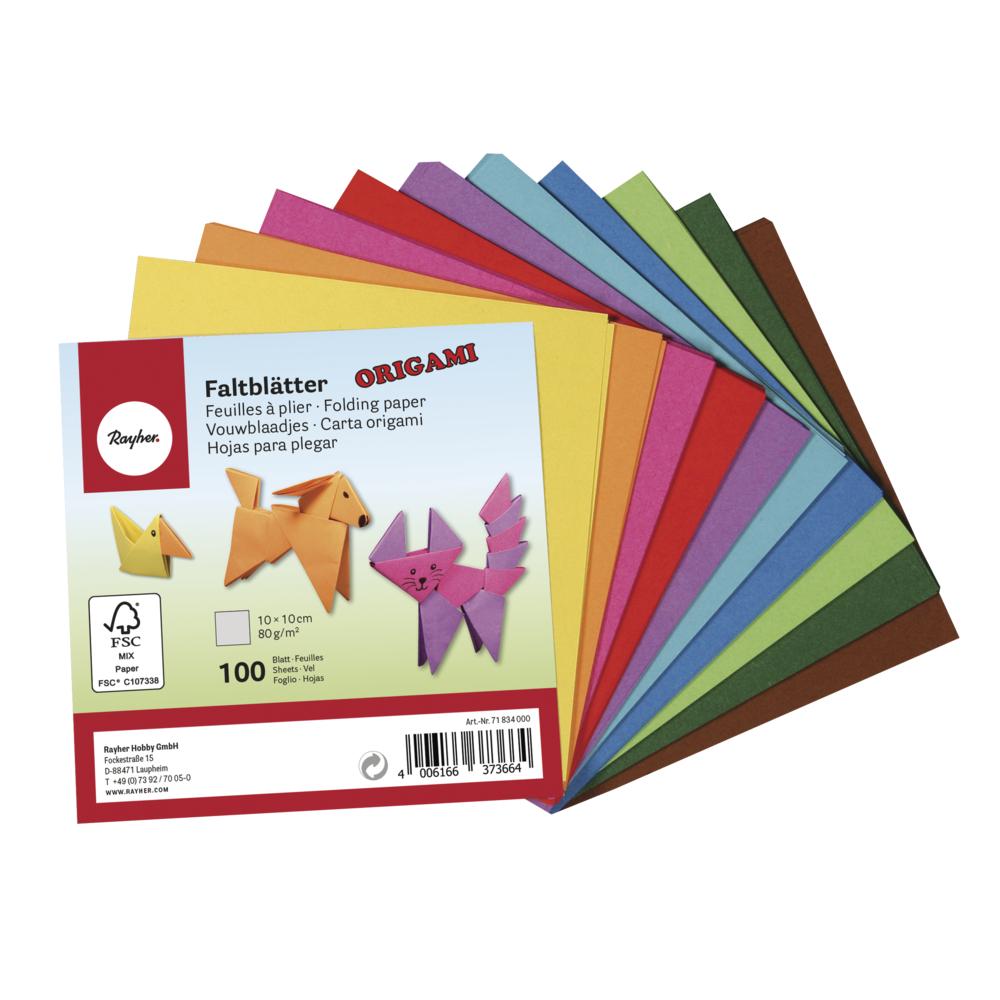 Origami-Faltblätter, FSC Mix Credit, 10x10cm, 80g/m2, Beutel 100Blatt