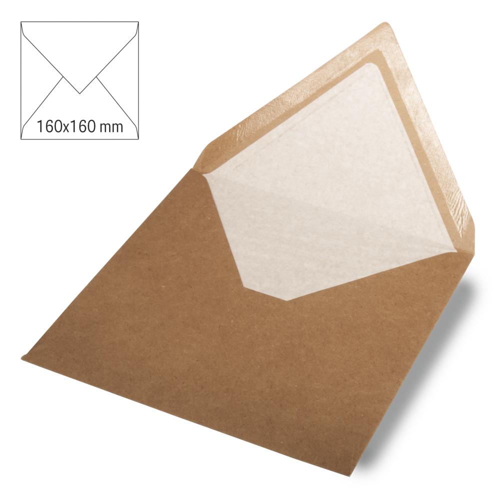 Kuvert quadratisch, kraft, FSC Rec.Cred, 160x160mm, 90g/m2, Beutel 5Stück, kraft