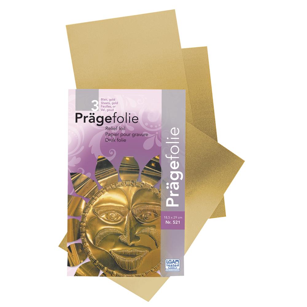Prägefolien-Mappe, 18,5x29cm, 3Bogen, gold