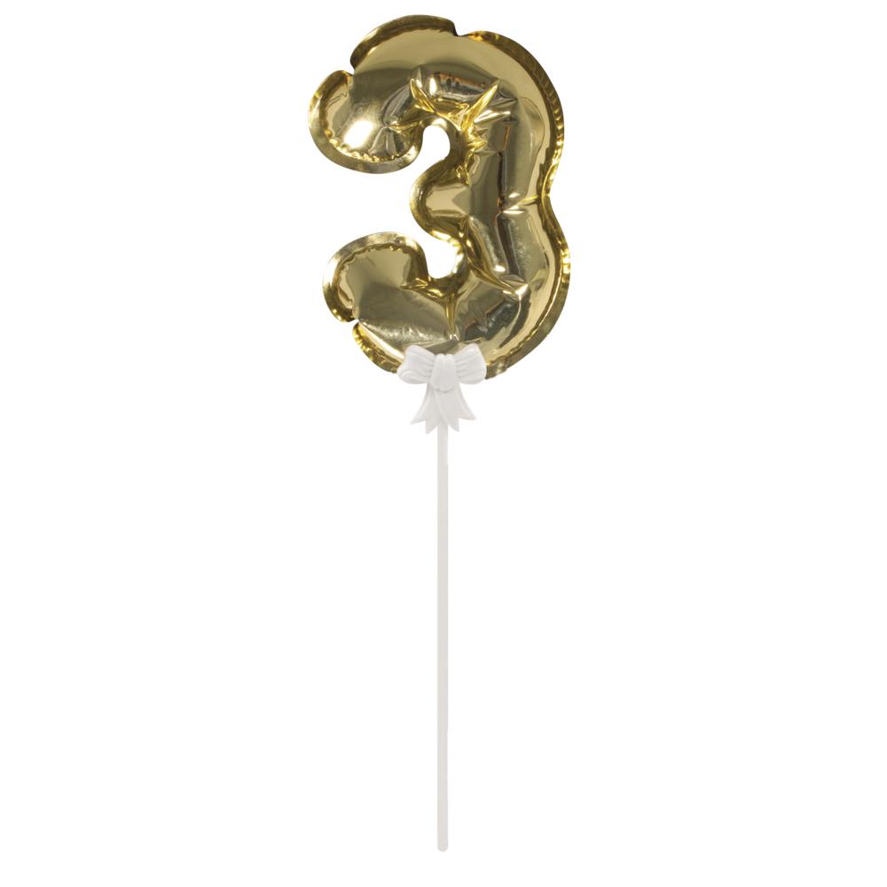 Folienballon Topper Zahl 3, Ballon 13cm +Stecker 19cm, SB-Btl 1Stück, gold