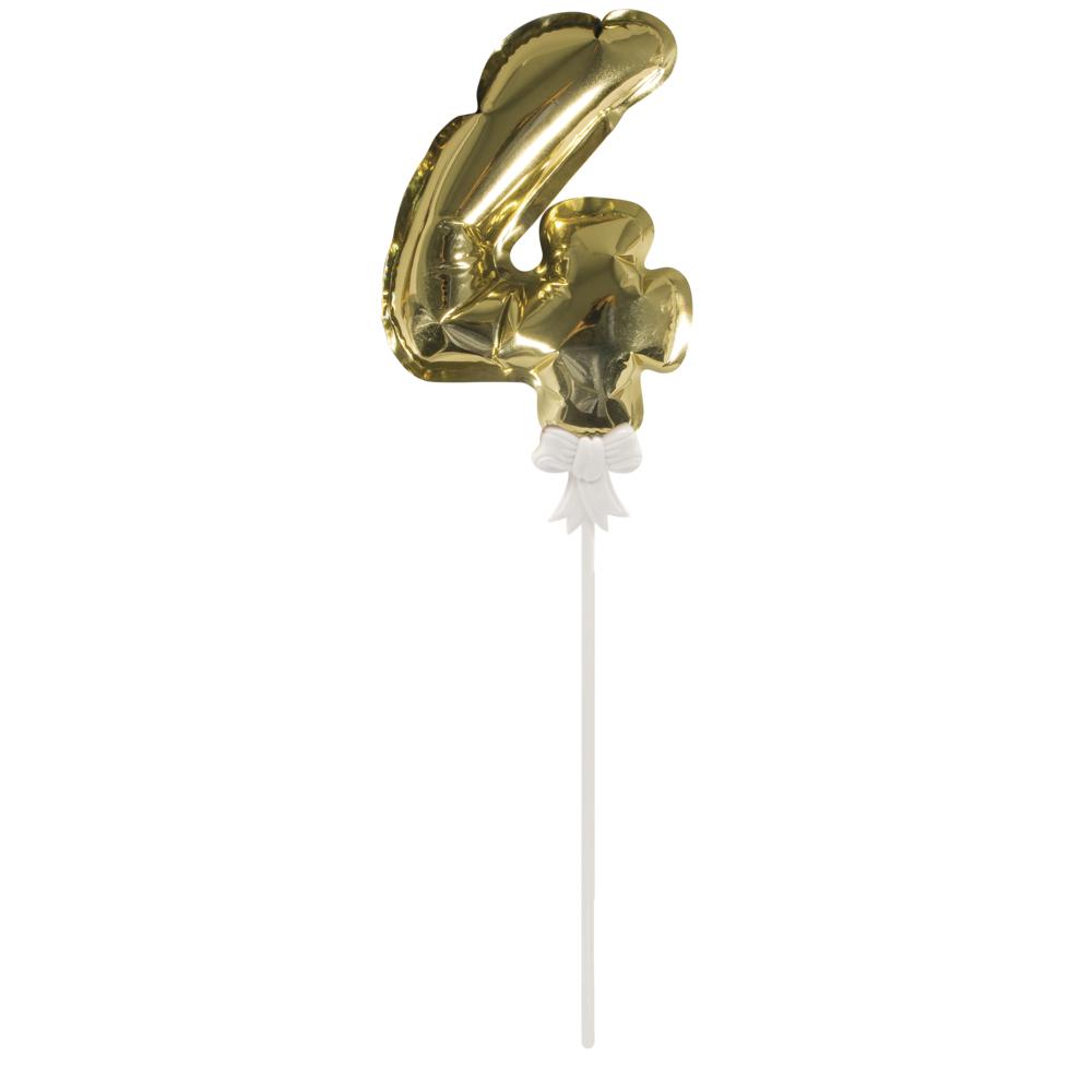 Folienballon Topper Zahl 4, Ballon 13cm +Stecker 19cm, SB-Btl 1Stück, gold