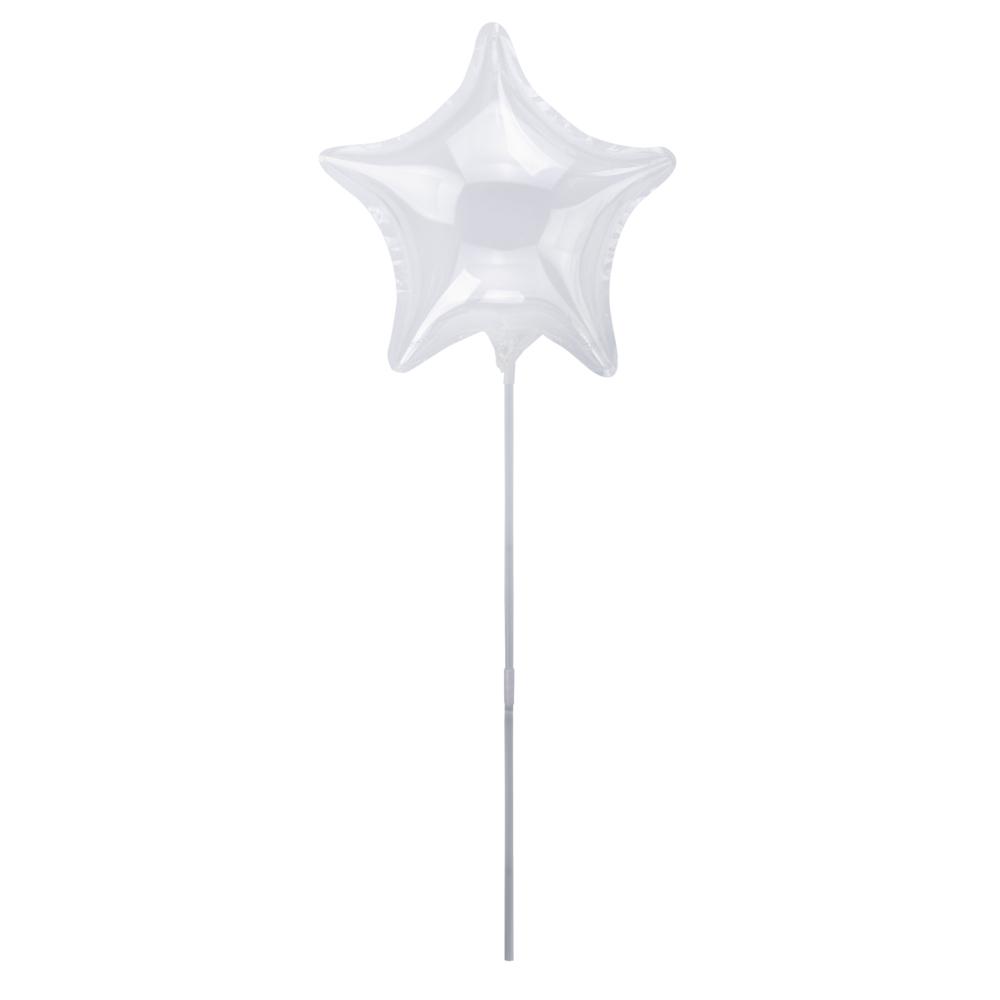 Bubble Ballon Stern m. Stab , 40 ± 2cm ø, transparent, SB-Btl 2Stück